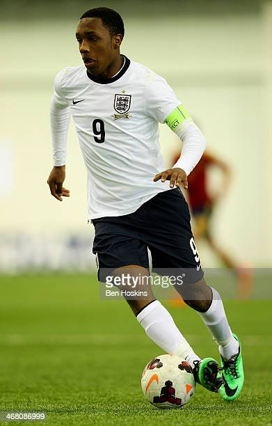 Kaylen Hinds of England in action during a U16 International match between England and Spain at St Georges Park on February 9 2014 in BurtonuponTrent...