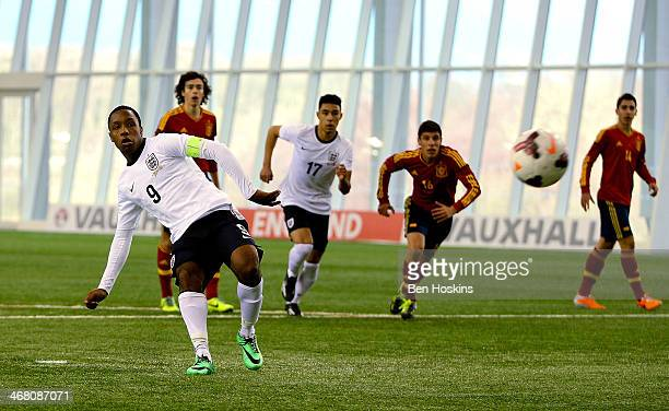 Kaylen Hinds of England misses a penalty during a U16 International match between England and Spain at St Georges Park on February 9 2014 in...