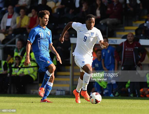 Kaylen Hinds of England pushes forward during the International match betweeen Engand Under 17 and Italy Under17 at Pirelli Stadium on August 31 2014...