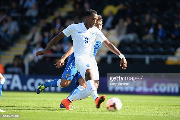 Kaylen Hinds of England scoring their fourth goal during the International match betweeen Engand Under 17 and Italy Under17 at Pirelli Stadium on...