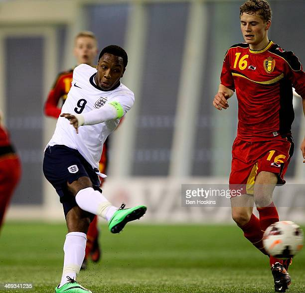 Kaylen Hinds of England shoots to scores his team's first goal of the game during a U16 International match between England and Belgium at St Georges...