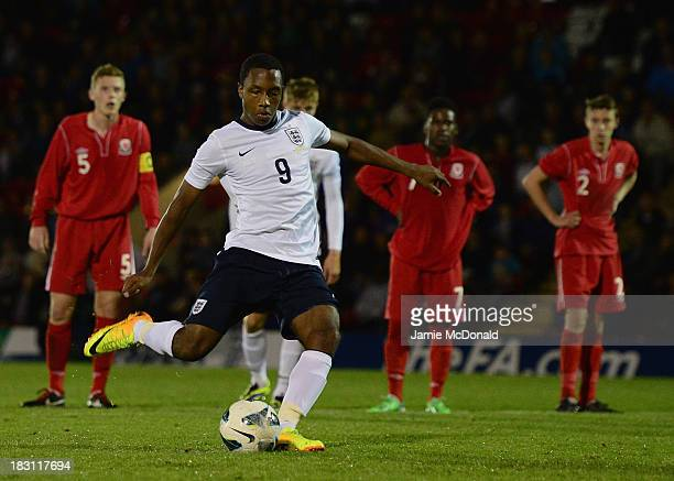 Kaylen Hinds of England U16 in action during the Victory Shield match between England U16 and Wales U16 at Aggborough Stadium on October 4 2013 in...