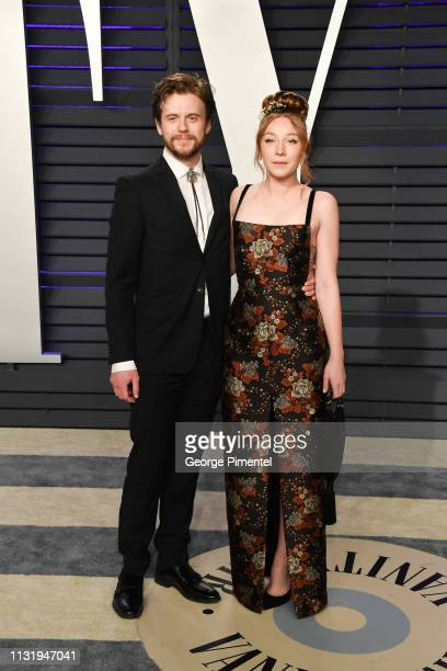 Kayli Carter and guest attend the 2019 Vanity Fair Oscar Party hosted by Radhika Jones at Wallis Annenberg Center for the Performing Arts on February...