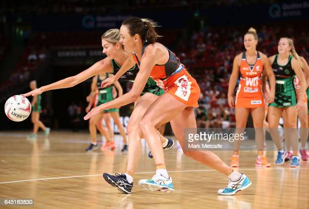 Kaylia Stanton of the Fever is challenged by Bec Bulley of the Giants during the round two Super Netball match between the Giants and the West Coast...