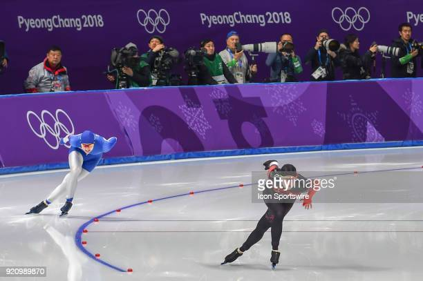 Kaylin Irvine and Angelina Golikova come out of the turn to head down the backstretch during the 1000M Ladies Final during the 2018 Winter Olympic...