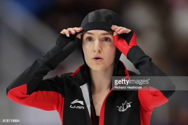 Kaylin Irvine of Canada looks on during the Ladies' 1000m Speed Skating on day five of the PyeongChang 2018 Winter Olympics at Gangneung Oval on...