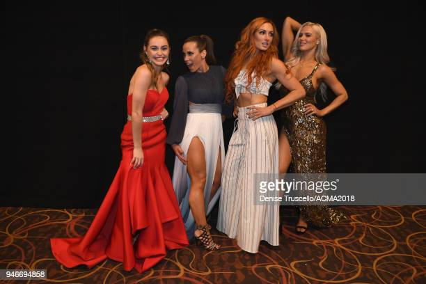 Kaylin Marie Roberson Mickie James Becky Lynch and Lana attend the 53rd Academy of Country Music Awards at MGM Grand Garden Arena on April 15 2018 in...
