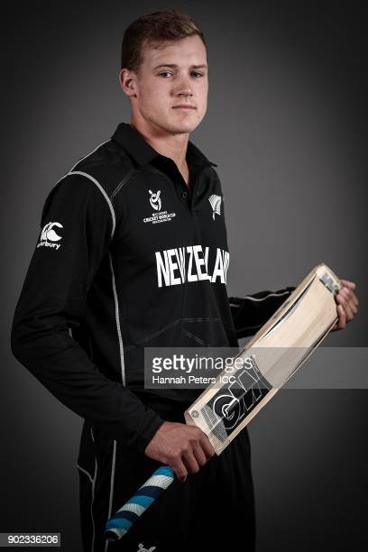 Kaylum Boshier poses during the New Zealand ICC U19 Cricket World Cup Headshots Session at Rydges Christchurch on January 7 2018 in Christchurch New...