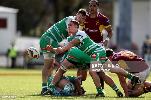 Kayne Hammington of Manawatu clears the ball during the round seven Mitre 10 Cup match between Southland and Manawatu on September 30, 2017 in...