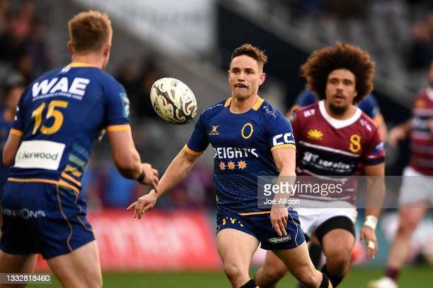 Kayne Hammington of Otago passes the ball during the round one Bunnings NPC match between Otago and Southland at Forsyth Barr Stadium, on August 07...