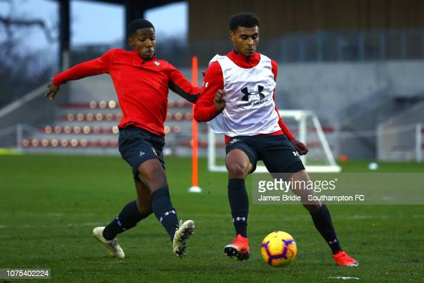 Kayne Ramsay and Marcus Barnes during a Southampton FC training session at Staplewood Training Ground on December 28 2018 in Southampton United...