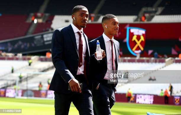 Kayne Ramsay and Yan Valery of Southampton ahead of the Premier League match between West Ham United and Southampton FC at the London Stadium on May...