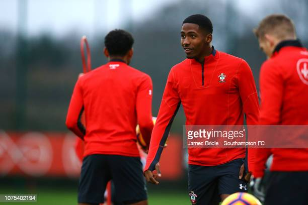 Kayne Ramsay during a Southampton FC training session at Staplewood Training Ground on December 28 2018 in Southampton United Kingdom
