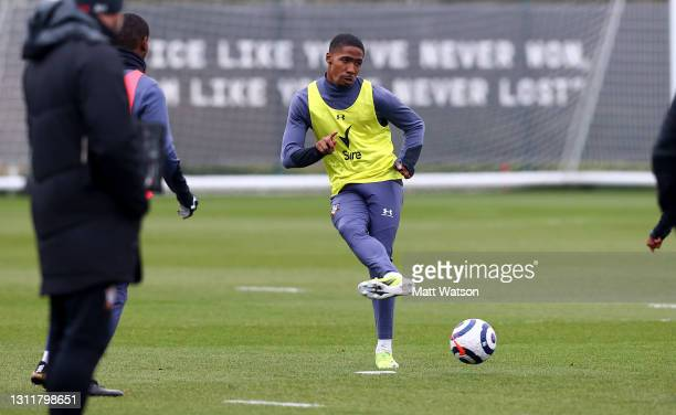 Kayne Ramsay during a Southampton FC training session at the Staplewood Campus on April 10, 2021 in Southampton, England.