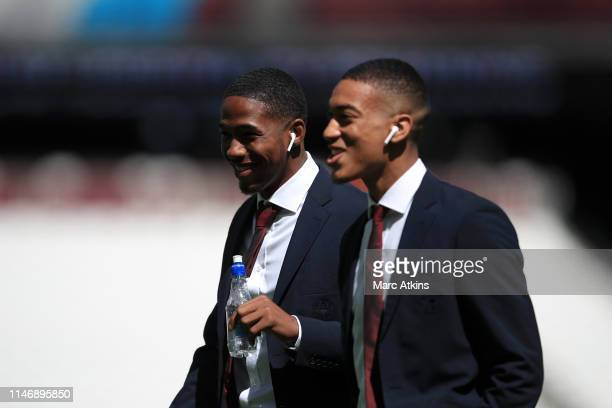Kayne Ramsay of Southampton and Yan Valery of Southampton speak during a pitch inspection prior to the Premier League match between West Ham United...