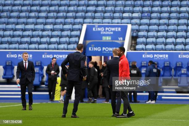 Kayne Ramsay of Southampton inspects the pitch with teammates ahead of the Premier League match between Leicester City and Southampton FC at The King...