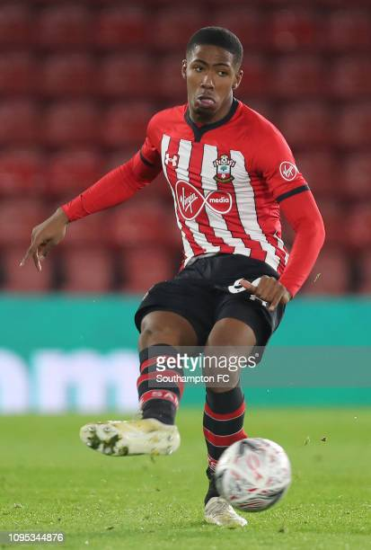 Kayne Ramsay of Southampton makes a pass during the FA Cup Third Round Replay match between Southampton FC and Derby County at St Mary's Stadium on...