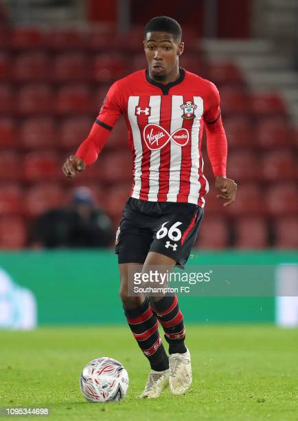 Kayne Ramsay of Southampton runs with the ball during the FA Cup Third Round Replay match between Southampton FC and Derby County at St Mary's...