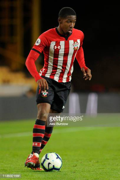 Kayne Ramsay of Southampton runs with the ball during the Premier League 2 match between Wolverhampton Wanderers U23 and Southampton U23 at Molineux...