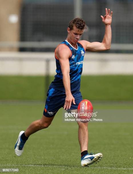 Kayne Turner of the Kangaroos in action during a North Melbourne Kangaroos Training Session at Arden Street Ground on January 15 2018 in Melbourne...