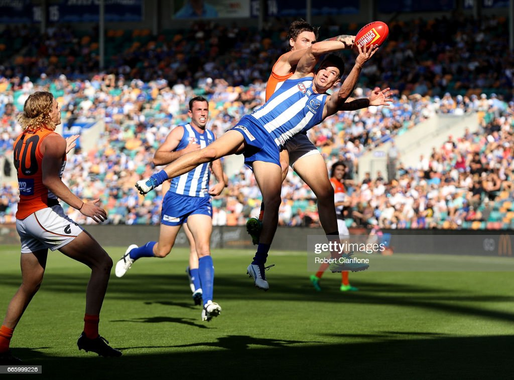Kayne Turner of the Kangaroos takes the ball during the round three AFL match between the North Melbourne Kangaroos and the Greater Western Sydney Giants at Blundstone Arena on April 8, 2017 in Hobart, Australia.