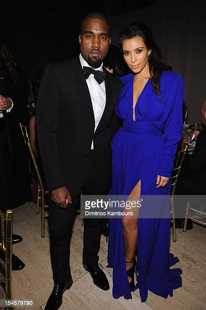 Kayne West and Kim Kardashian attend the Angel Ball 2012 hosted by Gabrielle's Angel Foundation at Cipriani Wall Street on October 22 2012 in New...