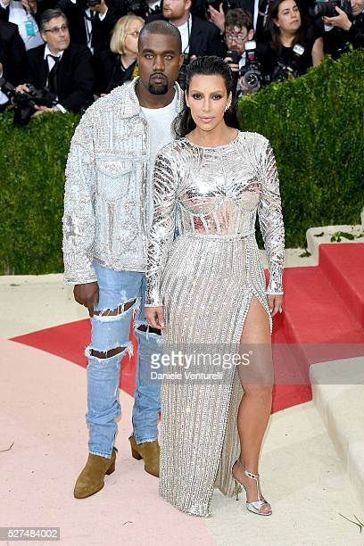 Kayne West and Kim Kardashian attend the 'Manus x Machina Fashion In An Age Of Technology' Costume Institute Gala at Metropolitan Museum of Art on...