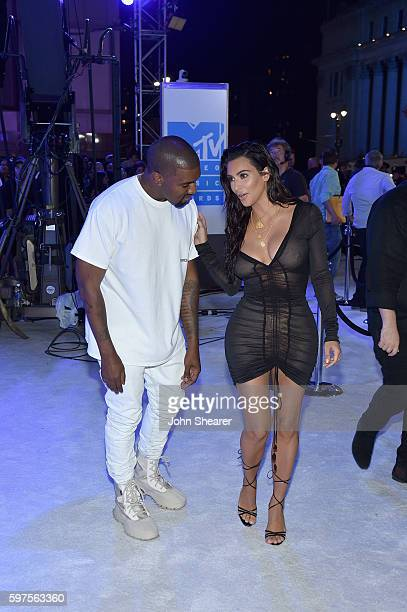 Kayne West and Kim Kardashian attends the 2016 MTV Video Music Awards on August 28 2016 in New York City