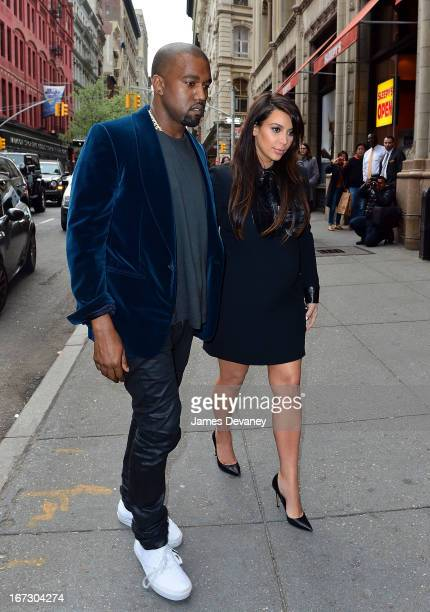 Kayne West and Kim Kardashian seen on the streets of Manhattan on April 23 2013 in New York City
