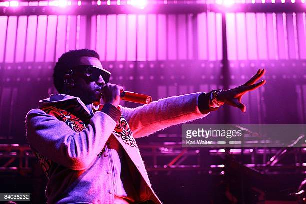Kayne West performs at KROQ's Almost Acoustic Xmas at the Gibson Amphitheatre on December 14 2008 in Universal City California