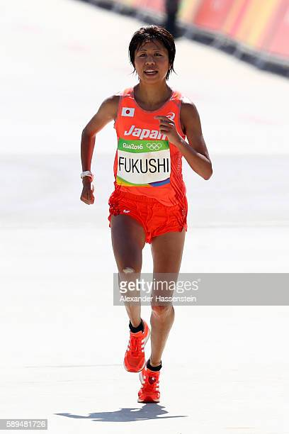 Kayoko Fukushi of Japan approaches the finish line during the Women's Marathon on Day 9 of the Rio 2016 Olympic Games at the Sambodromo on August 14...