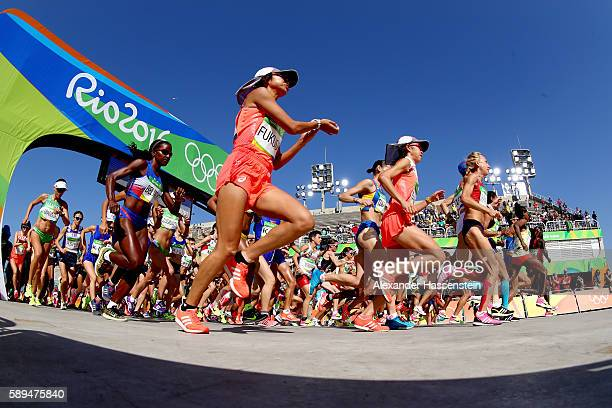 Kayoko Fukushi of Japan competes during the Women's Marathon on Day 9 of the Rio 2016 Olympic Games at the Sambodromo on August 14 2016 in Rio de...