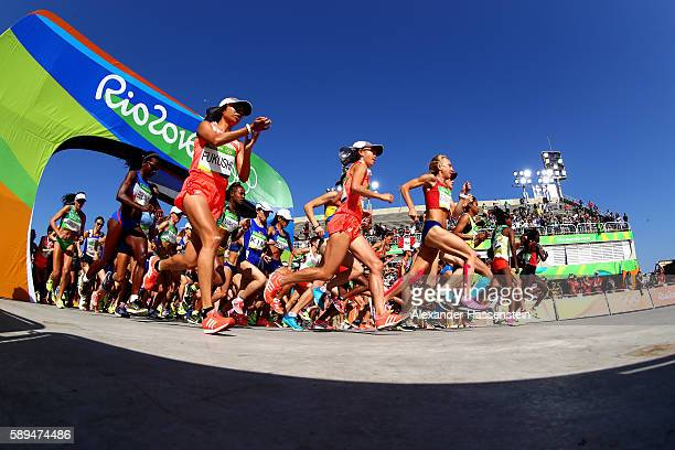 Kayoko Fukushi of Japan starts the Women's Marathon on Day 9 of the Rio 2016 Olympic Games at the Sambodromo on August 14, 2016 in Rio de Janeiro,...