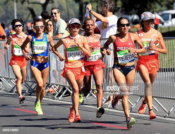Kayoko Fukushi Tomomi Tanaka and Mai Ito of Japan compete in the Women's Marathon on Day 9 of the Rio 2016 Olympic Games at the Sambodromo on August...