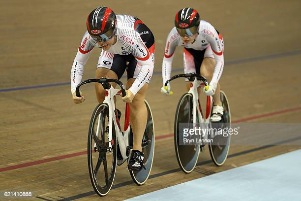 Kayono Maeda of Japan leads team mate Takako Ishii in the Women's Team Sprint during day three of the UCI Track Cycling World Cup at the Sir Chris...