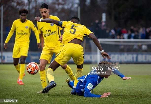 Kays RuizAtil Raphael Nya of Paris St Germain and Ruwen Werthmueller of Hertha BSC U19 during the game between Hertha BSC U19 against Paris St...