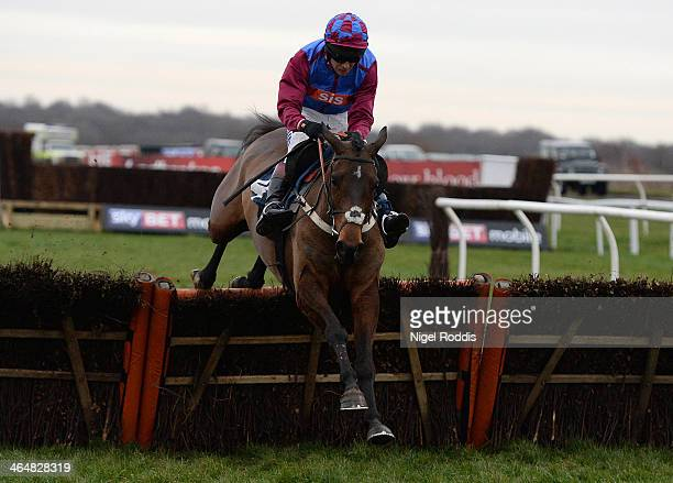 Kaysersberg ridden by Richard Johnson jumps the final hurdle to win the Sky Bet Odds Guaranteed Handicap Hurdle race at Doncaster racecourse on...