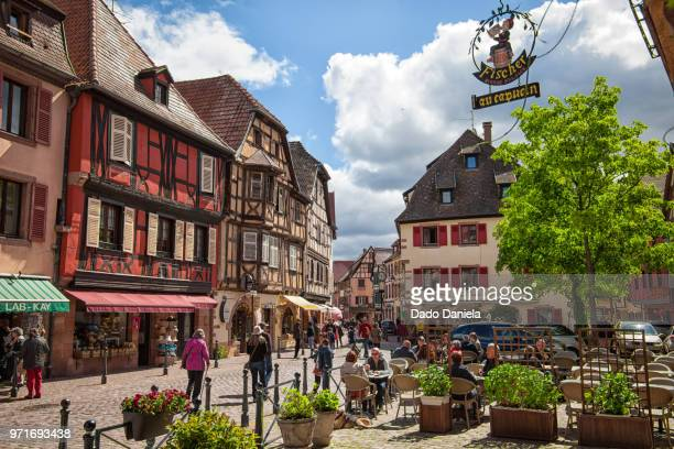 kaysersberg town square - strasbourg stock pictures, royalty-free photos & images