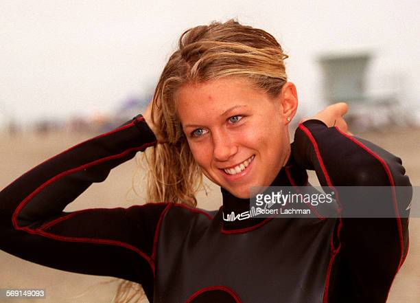 LSKaySmileRDL Veronica Kay Roxy model and surfer is adjust her wetsuit at the Roxy Quiksilver Wahine Classic surf contest at San Onofre State Beach...