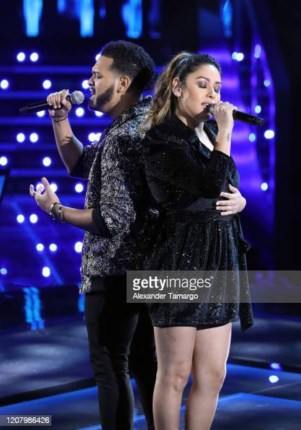 Kayson Luis Burgos and Lizette Rubio are seen performing on stage during Telemundo's La Voz Batallas Round 3 at Cisneros Studios on March 22 2020 in...