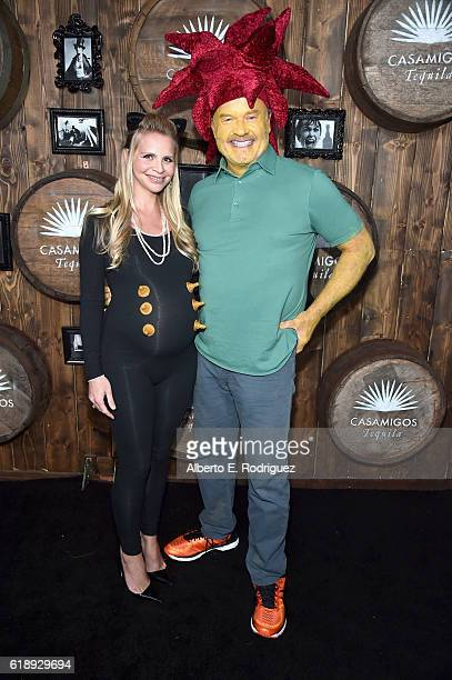 Kayte Walsh and actor Kelsey Grammer arrive to the Casamigos Halloween Party at a private residence on October 28 2016 in Beverly Hills California