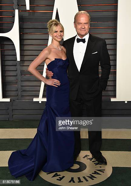 Kayte Walsh and actor Kelsey Grammer arrives at the 2016 Vanity Fair Oscar Party Hosted By Graydon Carter at Wallis Annenberg Center for the...