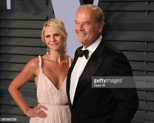 Kayte Walsh and Kelsey Grammer attend the 2018 Vanity Fair Oscar Party following the 90th Academy Awards at The Wallis Annenberg Center for the...