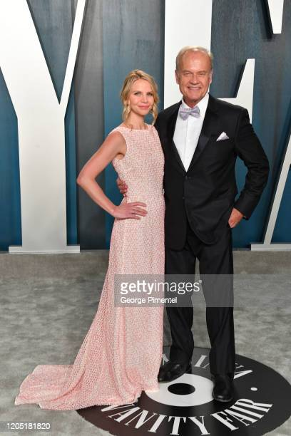 Kayte Walsh and Kelsey Grammer attend the 2020 Vanity Fair Oscar party hosted by Radhika Jones at Wallis Annenberg Center for the Performing Arts on...