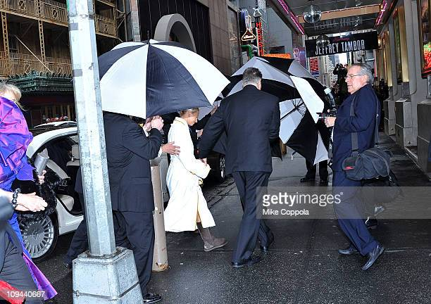 Kayte Walsh arrives at her wedding to Kelsey Grammer at the Longacre Theatre on February 25 2011 in New York City