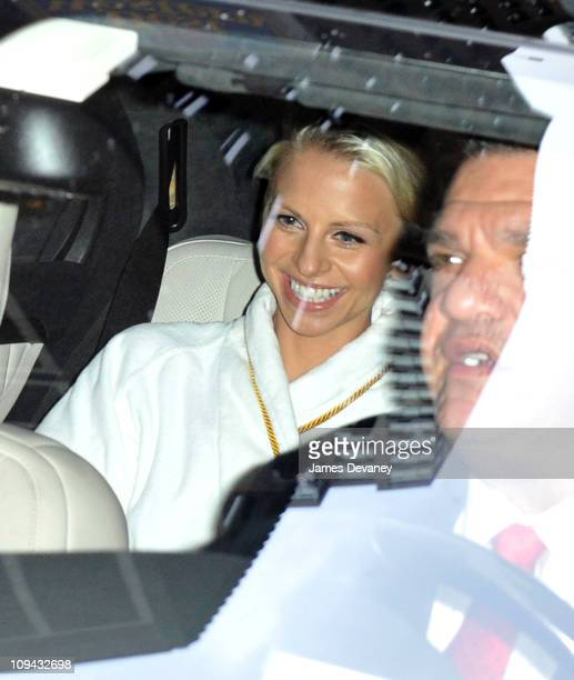 Kayte Walsh arrives in a white Mercedes sedan to her wedding where she will marry Kelsey Grammer at the Longacre Theatre on February 25 2011 in New...