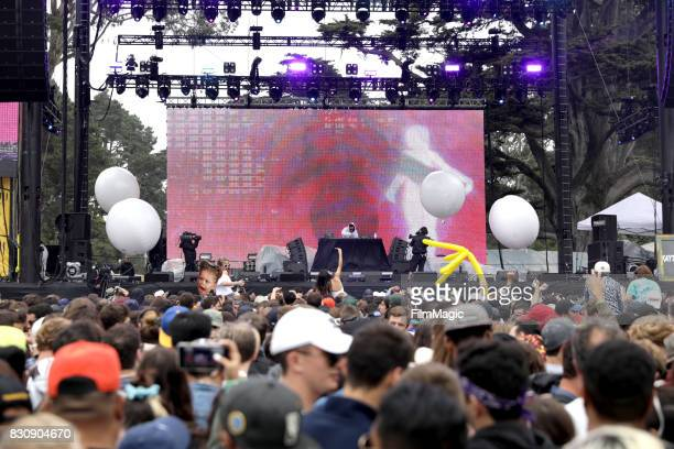 Kaytranada performs on the Twin Peaks Stage during the 2017 Outside Lands Music And Arts Festival at Golden Gate Park on August 12 2017 in San...