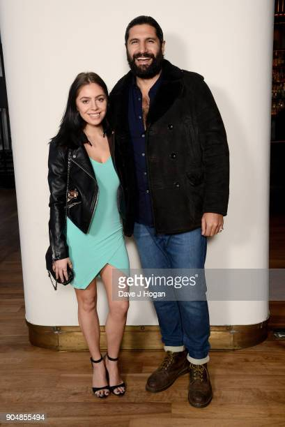 Kayvan Novak and guest attend the 'Early Man' World Premiere after party held at Skylon on January 14 2018 in London England