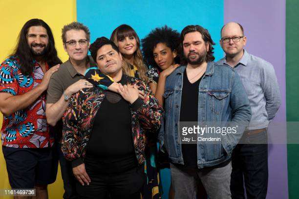 Kayvan Novak Paul Simms Harvey Guillen Natasia Demetriou Stefani Robinson Matt Berry and Mark Proksch of 'What We Do in the Shadows' are photographed...