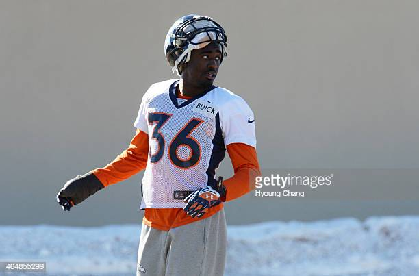Kayvon Webster of Denver Broncos is in the team practice at Dove Valley Centennial Colorado January 24 2014